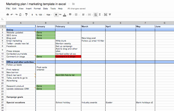 Yearly Marketing Plan Template Unique Marketing Schedule Template Excel