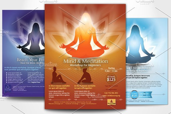Yoga Flyers Free Template Awesome Simple Yoga Meditation Flyers Flyer Templates On