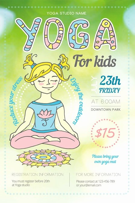 Yoga Flyers Free Template Awesome Yoga for Kids Flyer Template 1 Best Of Flyers