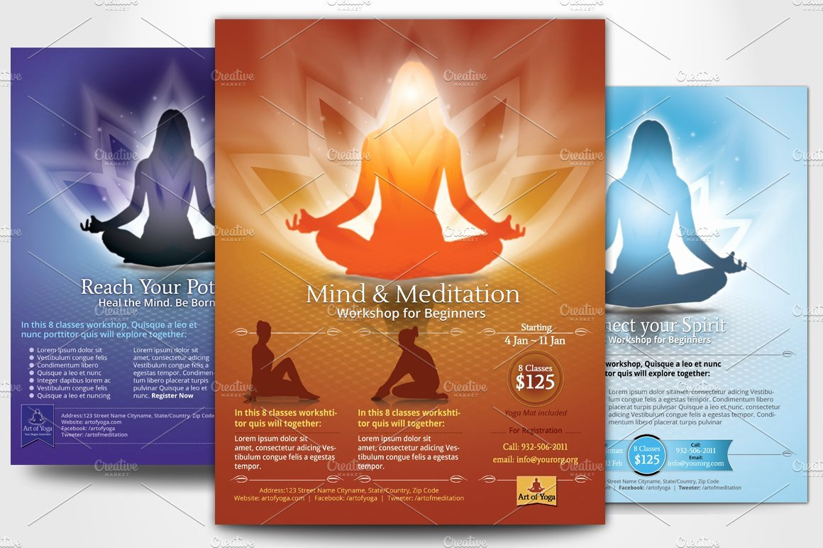 Yoga Flyers Free Template Beautiful Simple Yoga Meditation Flyers Flyer Templates Creative