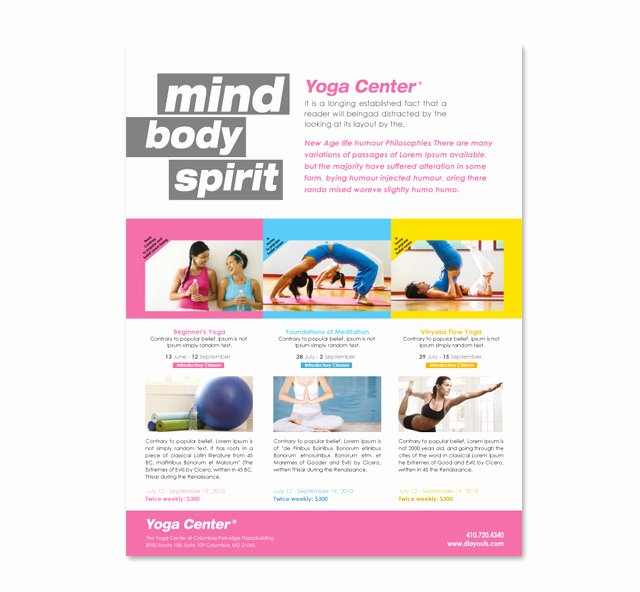 Yoga Flyers Free Template Lovely Yoga Instructor & Studio Flyer Template
