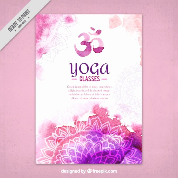 Yoga Flyers Free Template New Cute Watercolor Yoga Flyer with Mandalas Vector