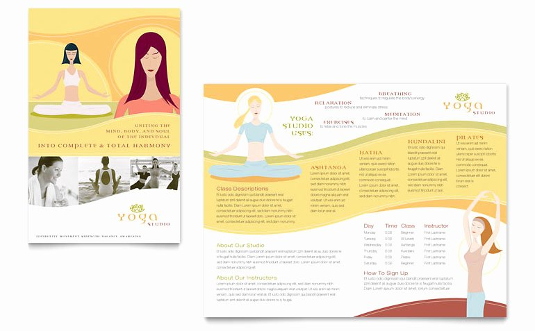 Yoga Flyers Free Template Unique Yoga Instructor & Studio Brochure Template Word & Publisher